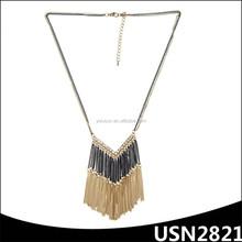 latest V shape chain tassel pendant gold chain necklace for fashion girls