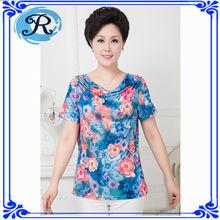 Manga corta cuello redondo personalizado Poliéster Impresión Digital Mujer T Shirt fabricante