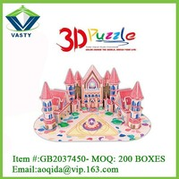 Education painting castle toys 3d diy building puzzle for children