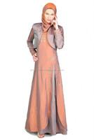 peach coloured design abaya