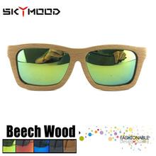 Haya cuadrado anteojos sol polarizado para las mujeres Bambú Gafas de madera bisagra