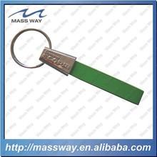 high grade custom 3D metal blue leather keychain