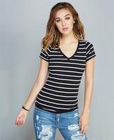 T shirt wholesale cheap fitness ladies t shirt bulk v-neck t shirt