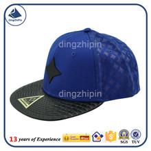 PU leather flat bill cotton men baseball cap OEM processing cap