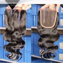 Sunny Queen Hair 6A Virgin human Hair 4x4 Lace closure human hair closure, 3 way part closure