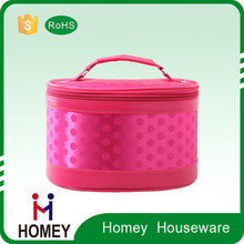 China Factory Cheap Red Round Cosmetic Bag Multi Pocket