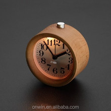 High quality handmade classic small round alarm clock with a nightlight function