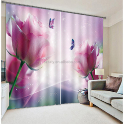New arrival large flowers printing 3d digital curtain 100% polyester curtain with good quality