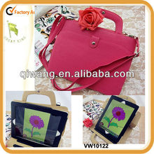 Fashion handle and shoulder carried PU case for iPad2/3