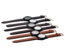 Mens Multifunction Chronograph 24 Hour Alarm Brown Leather Wrist Watch
