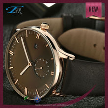 2014 high quality simple handmade leather strap stainless steel watch waterproof,big face men watch