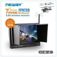 with great price 7 inch 5.8ghz RCA input 7 inch fpv monitor with external li battery and 32G TF card