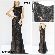 9793 Crystal Beaded Lace Black Trumpet Evening Dress 2014