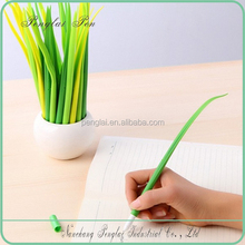 Silicone grass leaf pen shaped ball point pen in pot