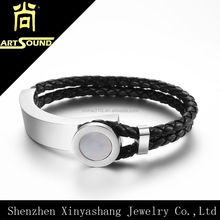new product ideas shamballa hook bracelet leather with stainless steel whole