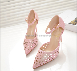 Z10616A Ladies high heels fancy pu hollow out footwear fashion sandal shoes