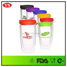 promotional 16 oz double wall plastic travel mug with photo insert