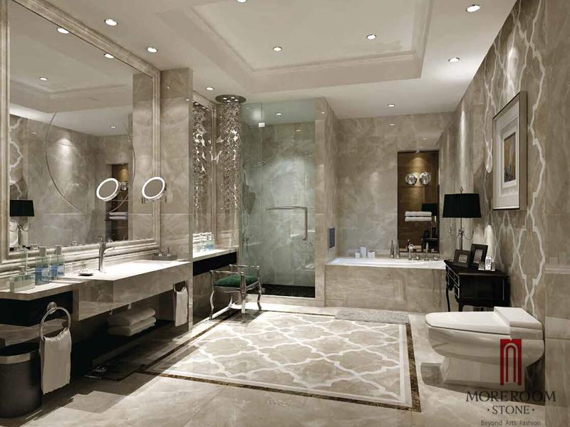 Italian Grey Marble Waterjet Medallions Marble Flooring
