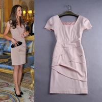 XXL!Best Quality New 2015 British Princess Style Fashion Women Square Collar Short Sleeve Ruffles Bodycon Dress Homecoming
