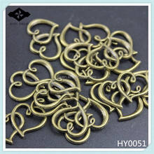 HY0051 DIY Alloy jewelry findings Antique Silver Bronze Plated Charms Double Heart Connectors accessories