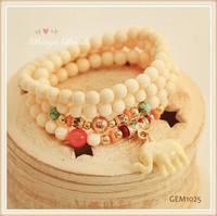 Ivory Gemstone Yoga Bracelet, Crystal Healing Bracelet, Minimalist Jewelry, Grey, White, Fertility Meditation Bracelet