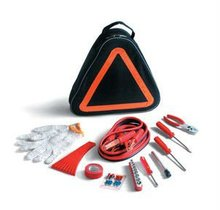 Car emergency kit with with ice scraper and tire pressure gauge