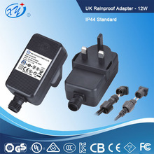 12w 12v 1a UK plug outdoor rainproof adapter, dc switching power supply with IP44 standard