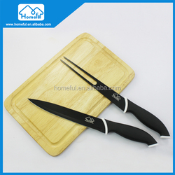 High Quality TPR Handle 2pcs Non Stick Kitchen Carving Knife Set With Wooden Cutting Board