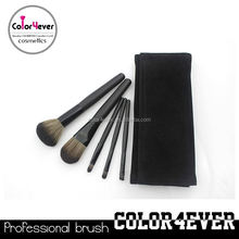 Wholesale!5pcs black travelling makeup brushes with frosted pouch eyes lips face brushes