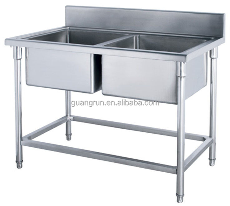 Free-standing Commercial Stainless Steel Kitchen Sink with Drainboard ...