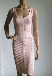 Newest style top quality sleeveless sexy nude women bandage dress XS S M L 2015 celebrity Dress wholesale dropshipping