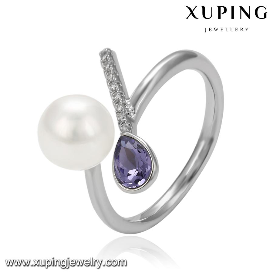 14525 Xuping haute qualité Swarovski bague ouvert ravissante avec perle, diamant rose ou viole pour les femmes