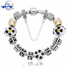 Fashion black tone daisy beads mother day gift ideas handmade bead bracelet
