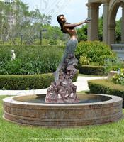 Hot sale alibaba high quality bronze garden mermaid water fountain