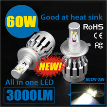 60W All in one design 3000LM Hi/Low led headlight bulb h4 led car headlight kit For Honda Toyota Chevrolet Hyundai VW