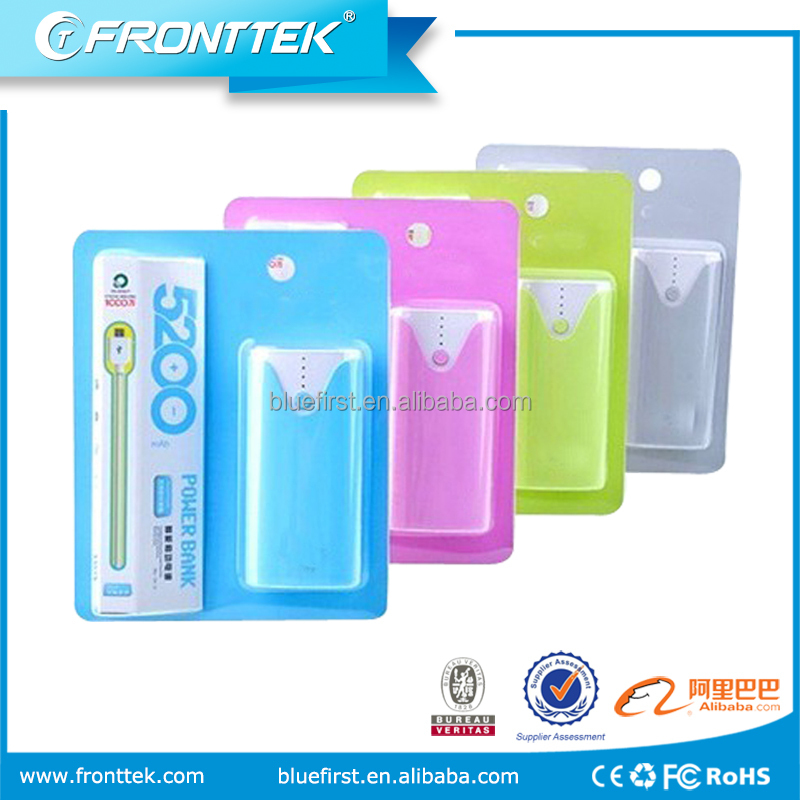 Factory price Wholesale Large Capacity 5200mah Portable mobile power bank