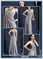 HT179 Elegant halter neck evening dress patterns grey color big girl sexy evening dress