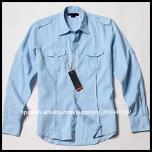 Camisa para hombre delgado en forma de manga larga de lino de lujo