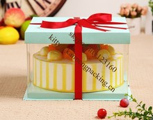 8inch big clear plastic cake packaging box with card board