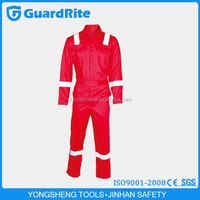 GuardRite Brand Cotton Reflective Coveralls ,Red Safety Reflective Overalls