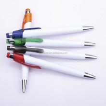white plastic ball point pen