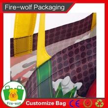 Purple Handle Side And Bottom Gussets Reusable Non Woven Shopping Bag