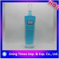Attractive price free samples logo printing empty square glass vodka bottle