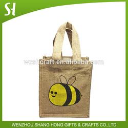 Wholesale jute burlap gift waterproof food grade jute bag busy bee