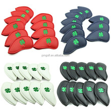 Custom made PU leather golf iron head covers 10pcs 3# - 9# Pw, Sw, Aw iron head cover with green embroidery four leaf clover