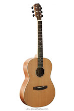 "China wholesale 36"" solid cedar body acoustic travel guitar western guitar"