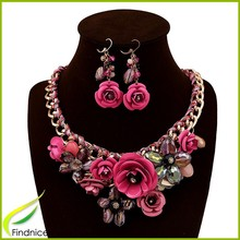 Fashion Rose Flower Cluster Bridal Jewelry Sets