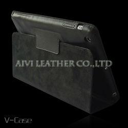 Black premium leather case for iPad Mini, booklet style leather case for iPad Mini