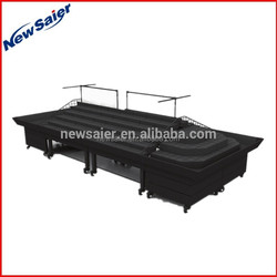 qualified offen use fruit and vegetable shelf supermarket display table