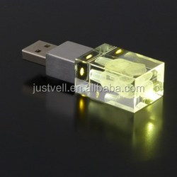 Customized 3D Laser Engraved Usb LED Lighting Crystal Usb Flash Drive for promotion